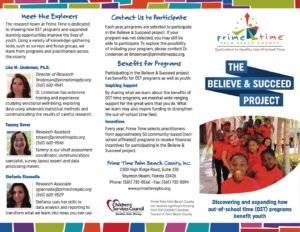Primetime Palm Beach County Believe Succeed Trifold Brochure Front