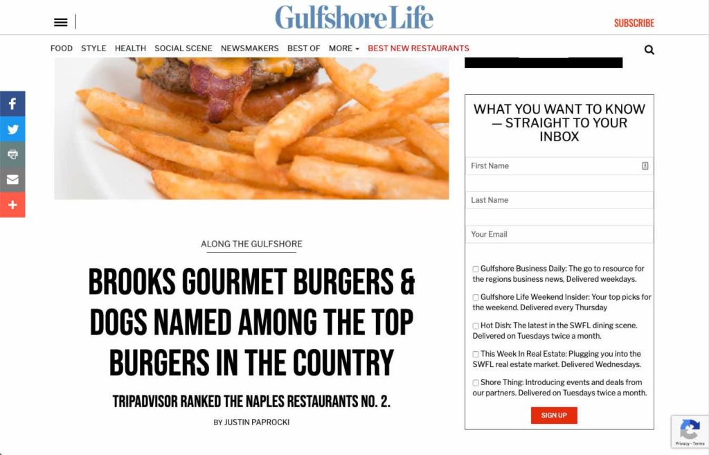 Brooks Burgers - Top Burgers in the Country