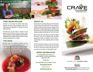 Crave Culinaire Trifold Brochure Front