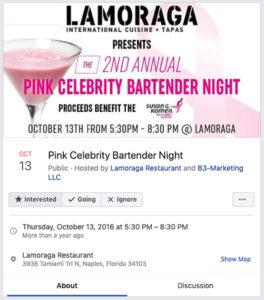 Pink Celebrity Bartender Night Facebook Event Post