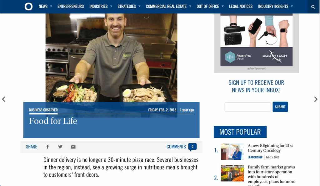 Fresh Fit Foods - Meal Delivery Article